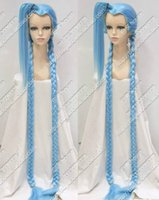 ingrosso capelli di intreccio blu chiaro-inx LOL Lunghe trecce Light Blue League of Legends Parrucca per capelli Cosplay Party 150CM