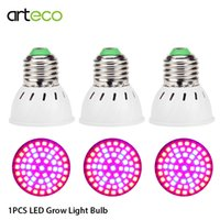 espectro completo led crece ligero e27 al por mayor-60LEDs Led lámpara de cultivo para la planta Phyto Lamp E27 luz 220V Grow Light Red Blue led para el crecimiento de plantas Full Spectrum Flower 1PC