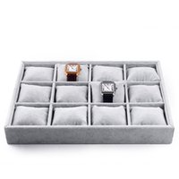 Wholesale Watch Trays - wholesale high quality jewelry tray black grey velvet 2018 for bracelets,watches free shipping
