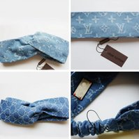 Wholesale vintage christmas scarf - Designer Denim Turban Heabands Hair Bands for Women and men New ARRVIAL Luxury Brand Vintage Head Scarf Headband Gifts H787