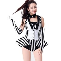 Wholesale female jazz costume for sale - Group buy Black And White Stripe Jazz Dance Costumes Performance Wear Dj Female Singer Stage Show Clothing New