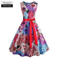 cinturones de moda de verano de las mujeres elegantes al por mayor-ShejoinSheenjoy Summer Women Fashion O-cuello Estampado floral Vestido Hepburn Retro Elegante Sashes Con cinturón Vestidos