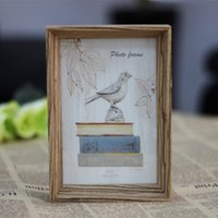 Wholesale Picture Frame Book - Retro Book Wooden Photo Frame Wood Natural Colour Picture Frames For Gifts Or Home Decor