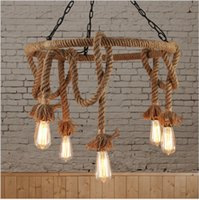 Wholesale clothes fixtures - loft Nordic retro hemp rope pendant light American country clothing store Cafe hanging lamp edison E27 vintage iron pendant lamp fixture