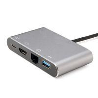 typ c usb nabe kabel großhandel-Typ-c 4in1 Hub Thunderbolt 3 USB zu HDMI 4K USB3.0 Hub Gigabit Ethernet RJ45 USB-C PD-Buchse Kabeladapter für