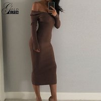 Wholesale Ribbed Dress - Women Skinny Ribbed Sweater Dress Women Slash Neck Off Shoulder Long Sleeve Dresses Slim Sexy Vestido Lady Fashion Pencil Dress