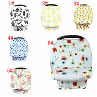 Wholesale flower infinity scarf - Baby Car Seat Cover Canopy Pineapple Nursing Cover Flower Stretchy Infinity Scarf Breastfeeding Shopping Cart Cover KKA5126