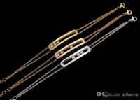 pulsera fina de oro rosa al por mayor-De calidad superior completo con diamante de la CZ de acero inoxidable elegante de tres piedras brazalete de encanto de cobre micro cadena fina color oro rosa love braceletsbang