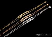 patlama elmasları toptan satış-En kaliteli tam CZ elmas Paslanmaz Çelik akıllı üç taş charm bileklik bakır mikro güzel zincir gül altın renk aşk braceletsbang