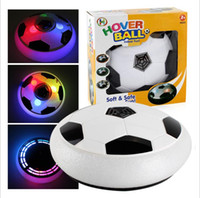 Wholesale battery operated children toys - Kids LED Air Power Soccer Football Boys Girls Sport Children Toys Training Football Indoor Outdoor Disk Hover Ball Game with Foam Bumpers