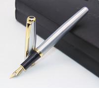 canetas de fonte baoer 388 venda por atacado-BAOER 388 Clássico de Aço Inoxidável Médio Negócio Nib Fountain Pen nova Prata Dourada Guarnição M Nib