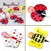 lindos pops venda por atacado-MagiDeal novidade 50 unidades / pacote adorável pirulito tags pop bolo decoração envoltório de presente de abelha / joaninha / borboleta para o seu escolher