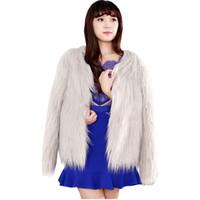 Wholesale Hot Pink Faux Fur Coat - 2018 Faux Fur Coat Fashion Hot Winter Autumn Manteau Fourrure Femme Short Solid Color long-sleeved Mex Vestidos BCD1507027