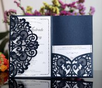 Discount easter birthday invitations - Navy Blue Newest Personalized Laser Cut Wedding Invitation White Suites Customization Envelope Wedding Invites 50 Pieces One Set