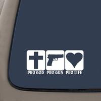 art noir blanc vert achat en gros de-Pro Dieu Pro Gun Pro Life Sticker Autocollant Art Peinture Autocollants De Voiture Vinyle Décor Stickers Fenêtre Arrière Autocollant De Voiture