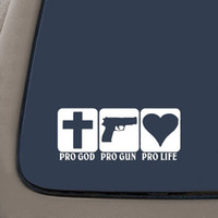 pistola de pintura de arte venda por atacado-Pro God Pro Gun Pro Vida Decalque Art Sticker Pintura Adesivos de Carro Decalques de Decoração de Vinil Janela Traseira Etiqueta Do Carro