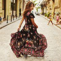 Wholesale Folk Skirt - Long Maxi Party Skirts Asymmetrical Vintage Floral Print Folk Beach Skirt Women Summer Bohemian Skirts Hippie Ethnic 5XL