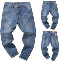 мужской задний карман оптовых-WOMAIL Casual Men Jeans Pants Denim Cotton Vintage High Quality Men Fashion Trousers Mens Jeans Back Pocket Drop Ship 18Aug13