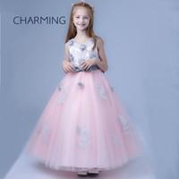 Wholesale childrens wedding dresses - Long dresses for girls Brand New dresses of girl Round neck sleeveless style Childrens maxi dresses