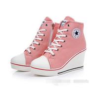 spor topuk ayakkabıları toptan satış-2018 rozeti takozlar yüksek bağcık rahat asansör ayakkabı kadın kanvas ayakkabılar yüksek üst kama sneakers kadın spor ayakkabı 8 cm Yüksek topuklu 35-43