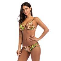 Wholesale brazilian swimwear leopard for sale - 2018 Sexy Leopard print strap Bikinis Women Push Up Swimwear Female Solid Swimsuit Beachwear Bathing Suit Padded Brazilian Bikin