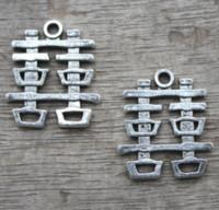 çince karakterler kolye toptan satış-15 adet / grup-Antik Tibet gümüş Çince Karakter Çifte Mutluluk Düğün Dekorasyon Charms kolye 21x24mm