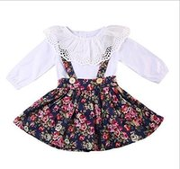 Wholesale organic babies - Vieeoease Girls Sets Baby Clothing 2018 Spring Long Sleeve Cotton T-shirt + Sleeveless Vest Dress Children Outfits 2 pcs EE-113