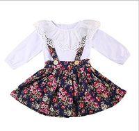 Wholesale american girl zebra dress - Vieeoease Girls Sets Baby Clothing 2018 Spring Long Sleeve Cotton T-shirt + Sleeveless Vest Dress Children Outfits 2 pcs EE-113