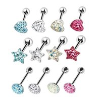 прямые ювелирные изделия из штанги оптовых-1Pc Surgical Steel Heart Star Round Top Tongue Ring Straight Barbell Piercing CZ Crystal Epoxy Retainer Body Jewelry 14G