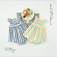 Wholesale two color collar shirt - girls sets 2018 INS style summer new arrivals Girls cute Vertical stripe printed lotus leaf collar t shirt + shorts two cotton sets