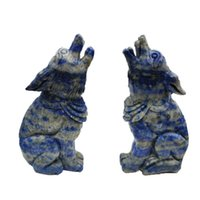 Wholesale lapis lazuli crystal healing resale online - 4 inch Natural Crystal carving lapis lazuli Wolf figure statue hand carved crystal healing For family or holiday gifts