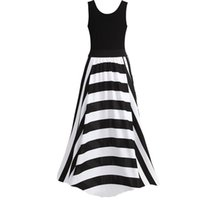 Wholesale plus size womens summer clothing for sale - Womens Ladies Summer Sleeveless Stripe Long Maxi Evening Party Dress Plus size women clothing Dress in the floor Dresses brazil