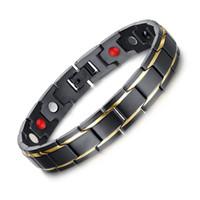 fashion magnetic therapy bracelet 2018 - Exquisite Mens Magnetic Bracelets Stainless Steel Magnetic Therapy Negative Ion Bracelet Gold-color Black Gents Fashion Jewelry
