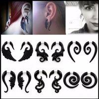 Wholesale fake earring plugs gauges - Punk style 1 Pair Acrylic Acrylic Spiral Gauge Ear Plug Fake Cheater Stretcher Flesh Earrings Piercing Jewelry
