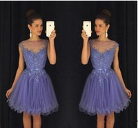 Wholesale white cocktail red belt resale online - New Lavender Sheer Crew Sweet Homecoming Dresses Cap Sleeves Lace Appliques Beaded Short Mini Cocktail Party Dresses with Belt Backless