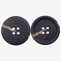 siyah boynuz düğmeleri toptan satış-Polyester malzeme Faux Horn Düğme Siyah Takım elbise, Palto, Ceket, Kazak Büyük beden için