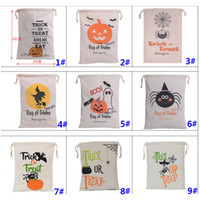 Wholesale halloween party treats - Halloween Pumpkin Bags Canvas Drawstring Christmas Gift Wrap Bags Tricks Or Treat Printed Festival Party Decor 9 Designs HH7-1294