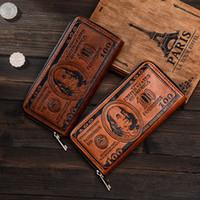 şekil cüzdan toptan satış-Moda Erkekler Cüzdan Uzun Dolar Rakam Baskı Kredi Cüzdan Adam Debriyaj PU Para Klip Uzun Erkek Çanta için Paraları Çok Cep ücretsiz kargo