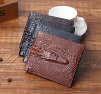 Wholesale Vintage Stereos - Factory wholesale brand bag retro crocodile purse personality stereo crocodile embossed men short wallet Vintage multi card open men Wallet