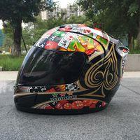 capacetes de motocicleta venda por atacado-MALUSHUN A1 Capacete Da Motocicleta Moto Capacete Flip Up Poker Impressão Capacetes de Corrida Rosto Cheio Casque De Moto