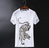Wholesale Mens Colorful Fashion Shirts - 2018funny mens t shirt mercerized cotton short sleeve embroidery colorful tiger tops unisex size and fashion style tee