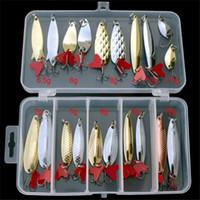 conjunto de señuelos de hilandero al por mayor-Señuelos de pesca 20cs Spinner Spoon Spoon Bait Set Señuelos de pesca de metal Cebo artificial Lentejuelas Ruido Paillette Gancho de pesca