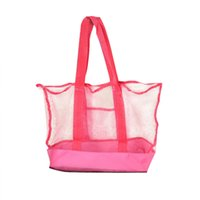 сложенный пляжный мешок оптовых-Складной сетки тотализатор многофункциональный сокровища игрушка оболочки сумка для хранения детей пляжная сумка легко носить с собой розовый 6kj C