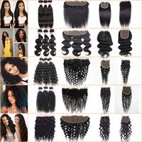 Wholesale Ombre Kinky Curly Human Hair - Brazilian Virgin Hair 3 Bundles with Lace Frontal Closure Straight Human Hair Kinky Curly Body Deep Wave Peruvian Hair Bundles with Closure