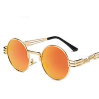 klasik gotik moda toptan satış-Moda erkek tasarımcı güneş gözlüğü lvintage retro gotik steampunk ayna güneş gözlüğü altın ve siyah güneş gözlükleri vintage yuvarlak daire erkekler UV400