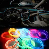 ingrosso luci a nastro di filo al neon-1m 3m 5m Auto EL Wrie Accendisigari Presa Plug Neon Light Car Decor Luce Neon LED Lampada flessibile EL Wire Rope Tube LED Strip