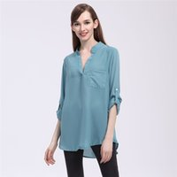 women clothes Women s Loose Chiffon Blouses Casual Pockets T Shirt V-Neck  Long Sleeve Womens Tops And Blouses Plus Size 5XL YFF 6145 81c710e65ecc
