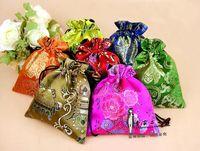 bordado de cuentas chino al por mayor-Comercio al por mayor bordado chino Multicolor Mezclas Aleatorias Satén Joyas Embalaje Bolsas de cordón Bolsas de Nogal Jin Monedero de Perlas Sueltas