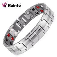 heilende armbänder für männer großhandel-Rainso Modeschmuck Healing FIR Magnetische Titanium Bio Energie Armband Für Männer Blutdruck Zubehör Silber Armbänder