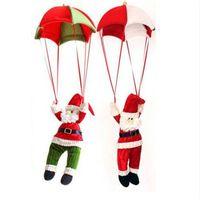 paracaidismo santa decoración al por mayor-ENCANTADORA Santa Claus Navidad Home Ceiling Decoration Parachute Muñeca colgante Colgante Toy Party Decoration Event Party Supplies